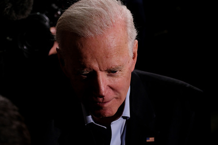 Former Vice President and Democratic presidential candidate Joe Biden addresses his supporters at The Rex Theater in Manchester.