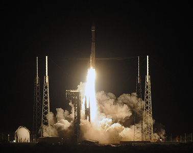 CAPE CANAVERAL, UNITED STATES, FEBRUARY 9, 2020: United Launch Alliance Atlas V 411 rocket with the Solar Orbiter payload lifts off from pad 41 at Cape Canaveral Air Force Station.  In a joint mission to study the sun by NASA and the European Space Agency (ESA), the spacecraft will take the first photographs of the sun's north and south poles.