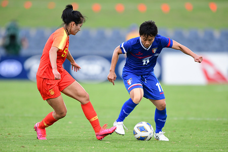 Wu Haiyan (L) and Lin Ya-hui (R) are seen in action during the 2020 AFC Women's Olympic Qualifying Tournament match between China and Chinese Taipei at Campbelltown Sports Stadium in Leumeah. (Final score; China 5:0 Chinese Taipei).