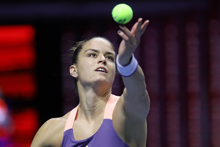 Maria Sakkari of Greece plays against  Vitalia Diachenko (not seen) of Russia during the St. Petersburg Ladies Trophy 2020 tennis tournament at Sibur Arena. Final score: (Vitalia Diachenko 1-3 Maria Sakkari)