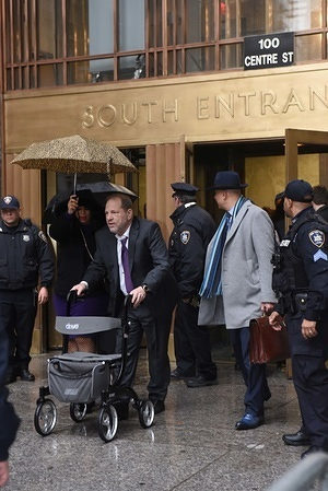 NEW YORK, UNITED STATES - FEBRUARY 10, 2020: Harvey Weinstein exits the Manhattan Criminal Court building in New York after  witnesses testifying for his defense during the sexual abuse allegation trial.