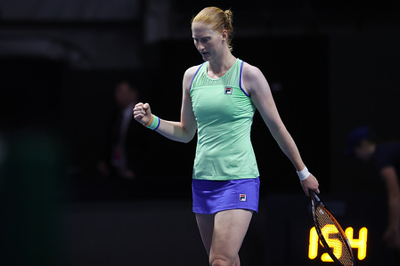 Alison Van Uytvanck of Belgium in action against Kristina Mladenovic of France in a match during the St.Petersburg Ladies Trophy 2020 tennis tournament at Sibur Arena. Final score: (Alison Van Uytvanck 2-0 Kristina Mladenovic)
