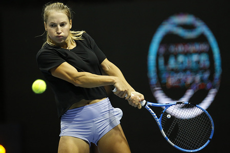 Yulia Putintseva of Kazakhstan in action against Veronica Kudermetova of Russia during the St.Petersburg Ladies Trophy 2020 tennis tournament at Sibur Arena. Final score: (Yulia Putintseva 1-2 Veronica Kudermetova)