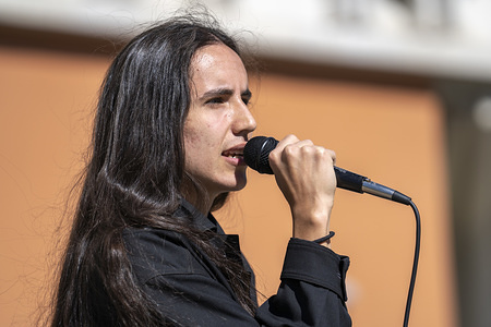 FULLERTON, UNITED STATES - FEBRUARY 11 2020: Environmental activist and hip hop artist Xiuhtezcatl Martinez speaks as a national surrogate of Democratic presidential candidate Sen. Bernie Sanders at Cal State University Fullerton. The event was part of the Bernie 2020 California College Tour.