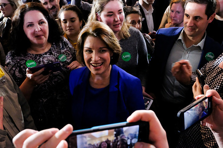 CONCORD, UNITED STATES - FEBRUARY 11 2020: Amy Klobuchar celebrates with her supporters in Concord after a strong third-place finish in the New Hampshire Primary.