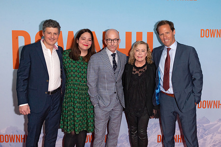 "NEW YORK, UNITED STATES, FEBRUARY 12, 2020: Anthony Bregman, Stefani Azpiazu, Jim Rash, guest and Nat Faxon attend the premiere of ""Downhill"" at SVA Theater."