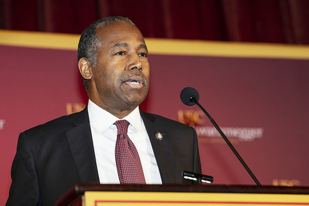 LOS ANGELES, UNITED STATES - FEBRUARY 13, 2020: US Secretary of the Department of Housing and Urban Development Ben Carson speaks during a Homelessness Symposium at USC in Los Angeles.  The event was held at the USC Schwarzenegger Institute and examined solutions to homelessness in California.