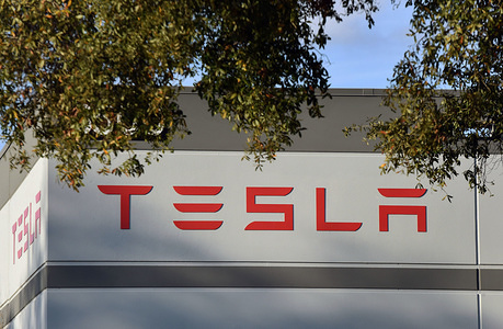 A Tesla energy warehouse is seen in Florida on the day that Tesla announced it plans to raise approximately $2 billion as part of an offering of common stock.