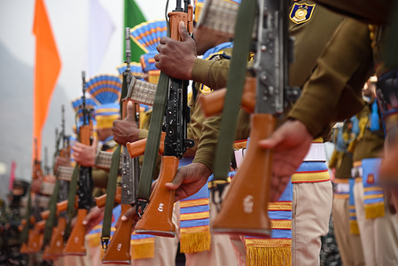 Indian forces pay tribute during the wreath laying ceremony in Pulwama. The Central Reserve Police Force paid Tributes to their 40 personnel who lost their lives in Pulwama attack on this day last year when their convoy was targeted in a suicide attack at the memorial at CRPF lethpora camp some 35 KM's from Srinagar.