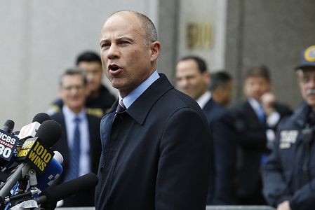 In this archival photo attorney Michael Avenatti speaks in front of Federal court in lower Manhattan at a press conference.  Michael Avenatti who gained fame as the lawyer for adult porn star Stormy Daniels was convicted of trying to extort money from the Nike Corporation.
