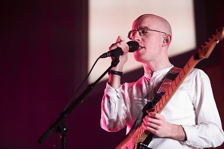 Jack Steadman of Bombay Bicycle Club Performs live on stage at a sold out  show at Belfast's Iconic Ulster Hall.