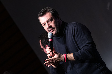 """Lega Nord political party leader Matteo Salvini speaks on stage during the political event of """"Rome returns capital, new ideas for the future of the city."""""""