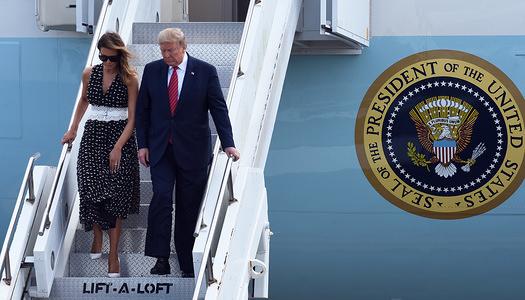 DAYTONA BEACH, UNITED STATES - FEBRUARY 16, 2020: U.S. President Donald Trump and First Lady Melania Trump arrive on an Air Force One at Daytona Beach International Airport ahead of Trump's appearance at the Daytona 500 car race.