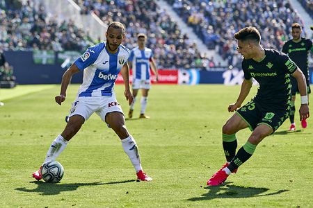 Martin Braithwaite of CD Leganes and Alex Moreno of Betis Balompie are seen in action during the La Liga match between CD Leganes and Real Betis Balompie at Butarque Stadium in Leganes. (Final score; CD Leganes 0:0 Real Betis Balompie)