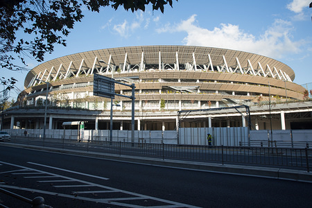 View of the new National Stadium in Kasumigaoka, Shinjuku, Tokyo, Japan. The stadium will serve as the main stadium for the opening and closing ceremonies and for the track and field events at the Tokyo 2020 Summer Olympic Games and Paralympic Games.