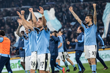 Lazio players celebrate after the Serie A game between SS Lazio and Inter at the Olympic Stadium. (Final score; SS Lazio 2:1 Inter)