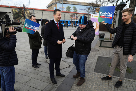 Wladyslaw Kosiniak-Kamysz collects signatures for his presidential candidacy during campaigns. Wladyslaw Kosiniak-Kamysz, leader of PSL (Polskie Stronnictwo Ludowe, translated as Polish People's Party) center, agrarian, Christian-democratic politician and presidential candidate started his campaign before the presidential elections in Poland.