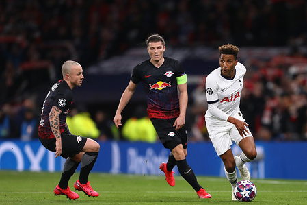 Gedson Fernandes of Tottenham Hotspur in action with Marcel Sabitzer (C) and Angelino (L) of RB Leipzig during the UEFA Champions League - Round of 16 First Leg match between Tottenham Hotspur and RB Leipzig at Tottenham Hotspur Stadium. (Final Score: Tottenham Hotspur 0-1 RB Leipzig)