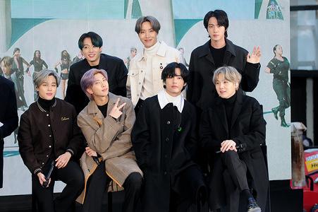 NEW YORK, UNITED STATES - FEBRUARY 21, 2020: (L-R) Jimin (Park Jimin), Jungkook (Jeon Jeongguk), Rap Monster (Kim Nanjoon), J-Hope (Jung Hoseok), V (Kim Taehyung), Jin (Kim Seokjin) and SUGA (Min Yoongi) of BTS (Bangtan Boys) band visit the Today Show at Rockefeller Plaza in New York City.