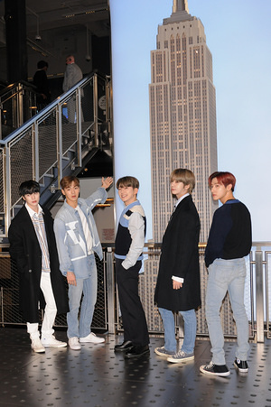 NEW YORK, UNITED STATES - FEBRUARY 21, 2020: (L-R) Lee Minhyuk, Shownu (Son Hyun-woo), Kihyun (Yoo Ki-hyun), Hyungwon (Chae Hyung-won) and Im Chang-kyun of Monsta X band visit the Empire State Building in New York City.