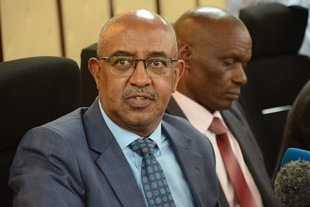 Chief Administrative Secretary for health in Kenya Rashid Aman speaks during a press conference in Nairobi, on the status of coronavirus in the country after a China Southern Airlines landed at the Jomo Kenyatta International Airport on February 26, 2020 with 239 passengers.