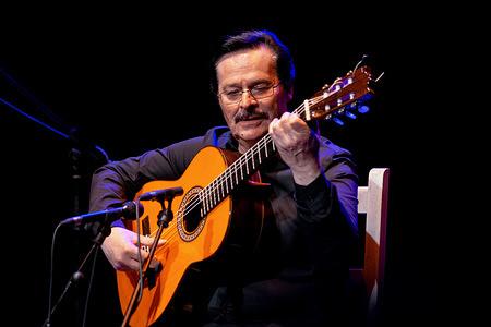 Julio Vallejo performs Entre dos aguas by Paco de Lucía during the Spanish flamenco guitar concert at the Enrique Tierno Galván Theater in Leganés.