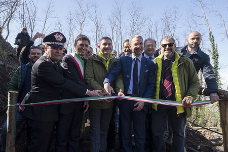 """The president of Vesuvius National Park, Agostino Casillo (left), the Vice President of Vesuvius National Park, Ciro Bonajuto (left) and the Minister of Environment, Sergio Costa (center) during the inauguration of the new trial called """"The river of Lava"""" of the Vesuvius National Park of Naples. The Vesuvius National Park was officially founded on 5th June 1995 to preserve animal and plant species. Situated in Herculaneum (Naples), the park is rich in natural resources, history of volcanology, breath-taking landscapes, age-old cultivations and traditions that make the Vesuvius area one of the most fascinating and most visited places in the world."""