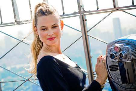 NEW YORK, UNITED STATES - MARCH 02, 2020: Model and activist Behati Prinsloo visits the Empire State Building to promote World Wildlife Day in New York City.