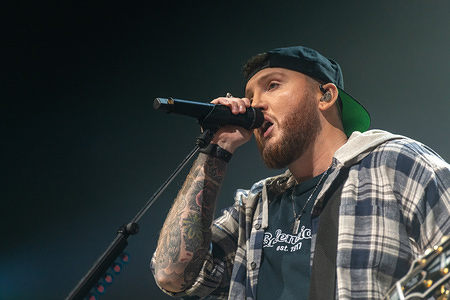 DUBLIN, IRELAND - MARCH 02, 2020: English singer and songwriter James Arthur performs live on stage during the Irish leg of his YOU Tour at the 3Arena, Dublin.