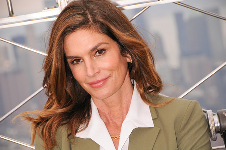 NEW YORK, UNITED STATES - MARCH 3, 2020: Iconic supermodel Cindy Crawford visits the Empire State Building to promote International Women's Day and nonprofit Delivering Good and Jones New York in New York City.