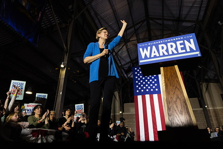 DETROIT, UNITED STATES - MARCH 3, 2020: Elizabeth Warren speaks during a rally held on super Tuesday in Detroit.  Super Tuesday will be a major deciding factor in her place in the polls for the Democratic primary election.