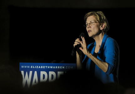 DETROIT, UNITED STATES - MARCH 3, 2020: Elizabeth Warren speaks to her supporters during a rally held at the Shed 5 building in downtown Detroit. Super Tuesday will be a major deciding factor in her place in the polls for the Democratic primary election. Elizabeth Warren held a campaign rally at the Detroit Kitchen Connect in Detroit Michigan. Warren and her campaign hope to secure a strong showing for 'Super Tuesday' as 14 states hold their Democratic primary elections.