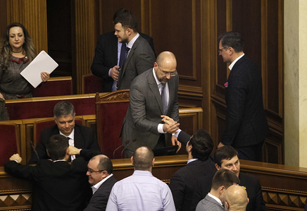 Lawmakers greet newly appointed Ukrainian Prime Minister, Denys Shmygal (C) during a meeting of Ukrainian Parliament (Verkhovna Rada), in Kiev. Ukrainian Parliament dismissed Prime Minister, Oleksiy Honcharuk and supported the proposal of the President of Ukraine, Volodymyr Zelenskiy to appoint Deputy Prime Minister, Denis Shmygal as the new Ukrainian Prime Minister.