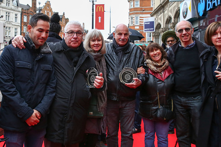 Amy Winehouse's father, Mitch, step mother, Jane, step father, Richard, mother, Janis during the unveiling of Amy Winehouse's  stone, in honour of the late British singer at the Music Walk of Fame in Camden, in north London.