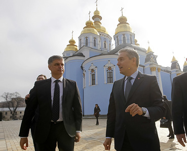 Canadian Minister of Foreign Affairs Francois-Philippe Champagne (R) and Ukrainian Foreign Minister Vadym Prystaiko (L) walk next to the St. Michael's Golden-Domed Cathedral in Kiev, Ukraine. Minister for Foreign Affairs of Canada Francois-Philip Champagne visits Ukraine with a working visit on March 4-6, 2020.