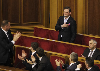 Dmytro Kuleba (on top), appointed as the new Ukrainian Foreign Minister, accepts congratulations during a parliamentary session in Kiev. Ukrainian Parliament voted for appointment Dmytro Kuleba as the new Ukrainian Foreign Minister.