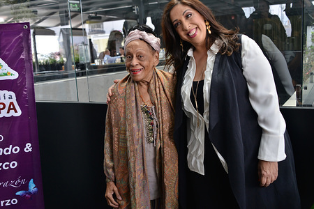 "Cuban singer Omara Portuondo and Regina Orozco attend a press conference to promote a concert and launch an album ""Pedazos del Corazon"" at Umbral Hotel in Mexico City."