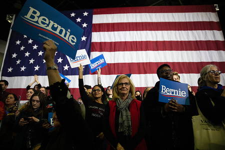 DETROIT, UNITED STATES - MARCH 6, 2020: Bernie Sander supporters attend a rally held in Detroit just a few days before the Michigans presidential primary election.