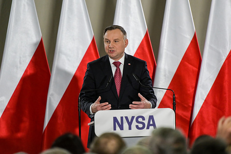 President Andrzej Duda speaks during presidential election convention in Nysa.