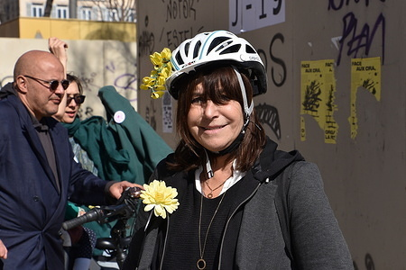 Candidate for Marseille Mayor Elections Michele Rubirola participates in a bicycle parade on the streets of Marseille.