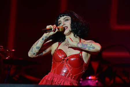 Chilean singer and activist Mon Laferte performs live on stage during the Tiempo de Mujeres Music Festival at Zocalo in Mexico City.