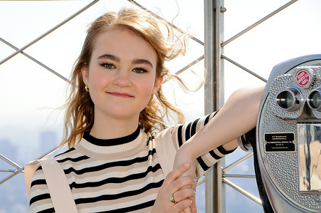 NEW YORK, UNITED STATES - MARCH 9, 2020: Actress, Millicent Simmonds visits the Empire State Building to promote her new film 'A Queit Place Part II',  in New York City.