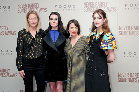 NEW YORK, UNITED STATES - MARCH 9, 2020: (L-R) Sara Murphy Sidney, Flanigan, Eliza Hittman and Talia Ryder attend the Never Rarely Sometimes Always film screening held at Metrograph in New York City.