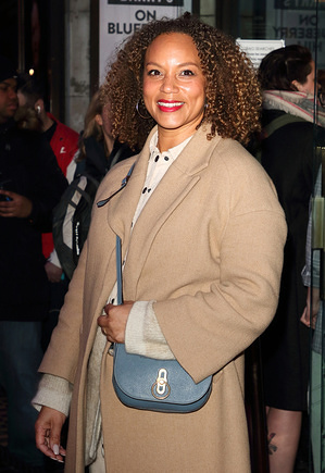 """LONDON, UNITED KINGDOM - MARCH 11, 2020: Angela Griffin attends the press night of """"On Blueberry Hill"""" at Trafalgar Studios in London."""