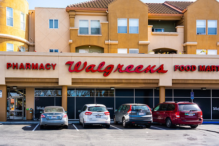American company pharmacy store chain, Walgreens logo seen at one of their stores.