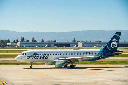 Alaska Airlines Airbus A320-200 aircraft seen at Norman Y. Mineta San Jose International Airport.