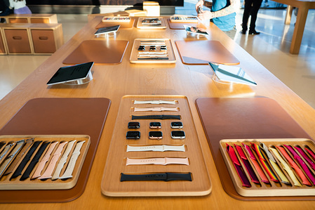 Apple Watch Series 5 displayed at the Apple Park Visitor Center in Cupertino.