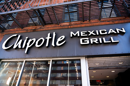American fast casual restaurants chain, Chipotle Mexican Grill logo seen in Midtown Manhattan.