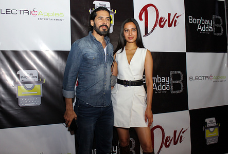 MUMBAI, INDIA - MARCH 12, 2020: Dino Morea and a guest attend the success party of short film 'Devi'.