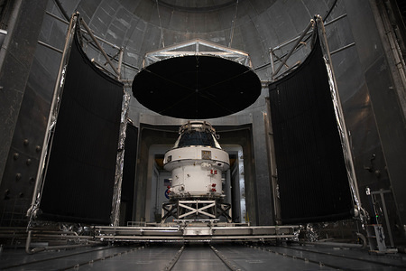 The Orion spacecraft seen during the Nasa Unveil event.  The spacecraft is the first step in NASA's Artemis Lunar mission; aiming to land the first woman and next man on the moon by 2024.